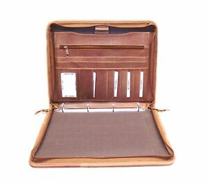 Tan Leather Document Conference Folder Personalise It Option Leaving Gift H0100