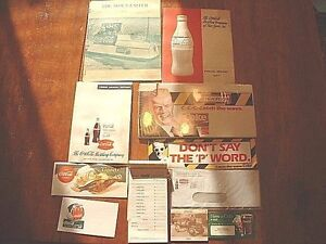 Lot of 10 Vintage Coca Cola Collectables Sign Annual Envelope Etc