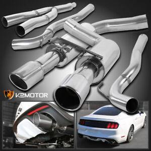 Fit 2015 2018 Mustang 2 3l Ecoboost Stainless Steel Dual Catback Exhaust System