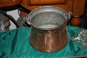 Antique Copper Middle Eastern Cauldron Kettle Bucket Snake Handle Primitive