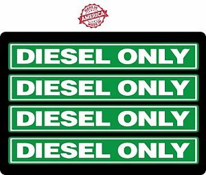 4 Pack Green White Diesel Only Fuel Oil Stickers Decals 1 0 X 7 0 P3