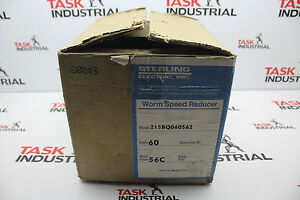 Sterling Electric Worm Speed Reducer 215bq060562 56c Ratio 60