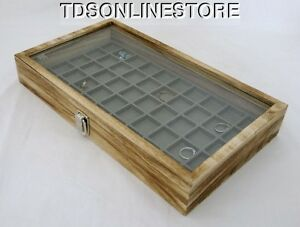 Rustic Antique Oak Color 50 Slot Jewelry Glass Top Display Case Gray