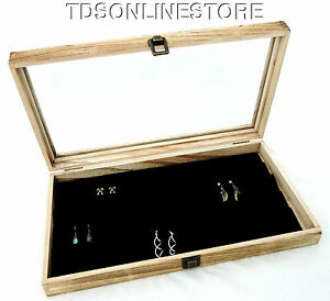Rustic Oak Color Glass Top Jewelry Case With 90 Earring Black Insert