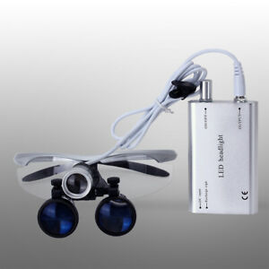 Dental Magnifier Medical Binocular Loupes 3 5x Black Led Head Light Lamp Silver