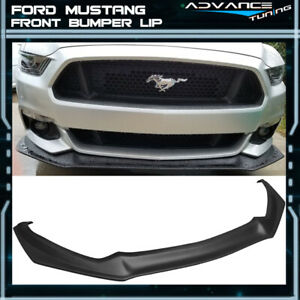 For 15 17 Ford Mustang Front Bumper Lip Unpainted Black Pp