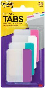3m Post it Tabs 2 X 1 5 Durable Writable Repositionable 4 Pastel Colors 24pc