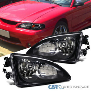 For Ford 94 98 Mustang Black Headlights Driving Head Lights Lamps Left Right
