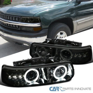 For 99 06 Chevy Silverado Suburban Tahoe Smoke Led Drl Halo Projector Headlights