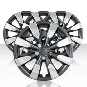 Set Of 4 Wheel Covers For 14 17 Toyota Corolla 8 Spoke 16 Inch Chrome charcoal