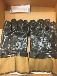 12 Pair Ansell Nitrasafe 28 359 Nitrile Coated Safety Gloves Size 10 Large