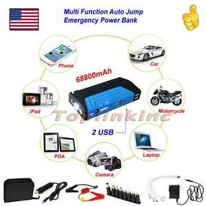 600a 12v Auto Car Jump Starter Box Power Bank Charger Jumper Cables Booster Blue