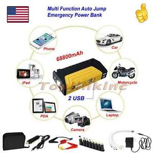 600a 12v Auto Car Jump Starter Power Bank Charger Jumper Cables Booster Yellow