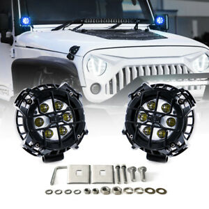 Pair Of 21w Cree Led Spotlight Blue Drl Eagle Eye Steel Cover For Offroad Jeep