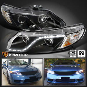 For 2006 2011 Honda Civic 4dr Black R8 Style Led Strip Projector Headlights