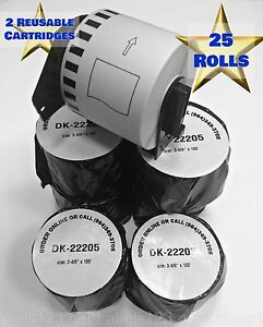 Dk 2205 Brother compatible Shipping Mail Labels 25 Rolls 2 Reusable Cartridges