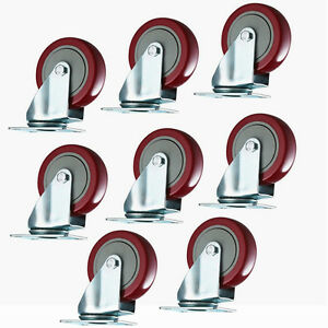 8 Pack Heavy Duty 3 Inch Caster Wheels Swivel Plate On Red Polyurethane Wheels