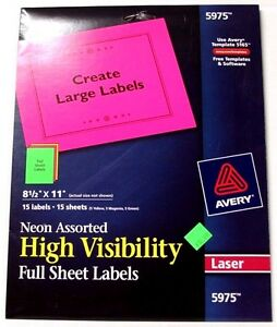 Avery 5975 Neon Assorted High Visibility Full Sheet Labels 8 1 2 X 11 Laser