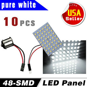 10x Super White 48 Smd Ba15s 1156 Led Panel Dome Map Interior Light Bulb Lamps