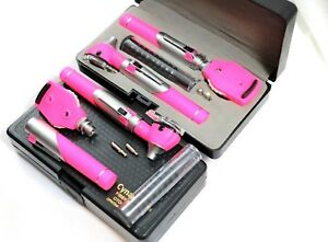Premium Fiber Optic Mini Otoscope Opthalmoscope diagnostic Set Ent pink Color