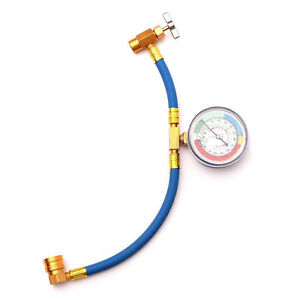 R 134 R134a Ac Refrigerant Recharge Hose Can Tap Gauge With Brass Fitting New
