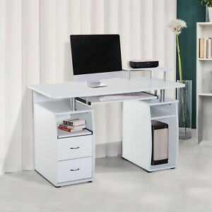 Computer Table Desk Pc Desktop Drawer Home Office Furniture White