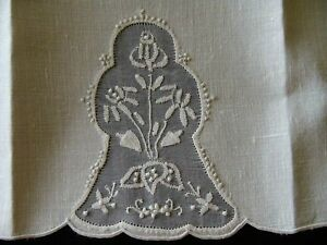 Fab Vtg Madeira White Linen Organdy Guest Towel Hand Embroidered Pristine