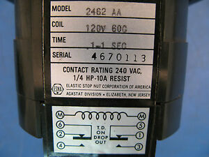 Esna Agastat Variable Time Delay Relay 2462aa Coil 120vac 1 1 Sec