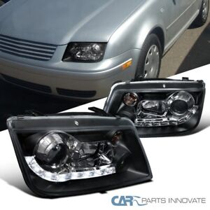 For Vw 99 05 Jetta Bora Mk4 Black Led Drl Projector Headlights Lamps Left right