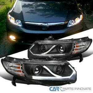 Led Bar Black Fit 06 11 Honda Civic 2dr Coupe Driving Lamp Projector Headlights