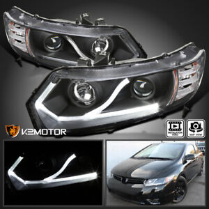For 2006 2011 Honda Civic Coupe 2dr Black Led Strip Projector Headlights Pair