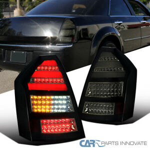 For 05 07 Chrysler 300c Glossy Black Led Tail Lights Brake Lamps 2pc Replacement
