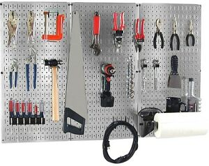 Pegboard Wall Tool Storage Organizer Kit Metallic Galvanized Steel Garage Shop