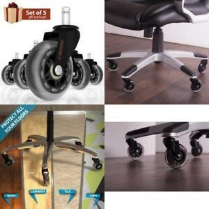 Office Chair Caster Wheels Rollerblade Style 3 Inch Rubber Wheel Black 5 Pack