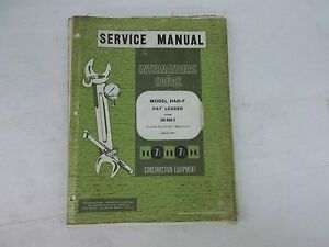 International Harvester Model Hah f Pay Loader Service Manual