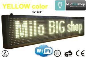 Led Scrolling Sign Wifi Yellow Color Programmable Message Display 8 X 40