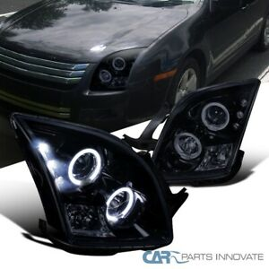 For Ford 06 09 Fusion Glossy Piano Black Tinted Halo Projector Headlights Lamps