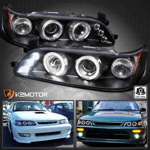 For 1993 1997 Toyota Corolla Led halo Projector Headlights Black Left right