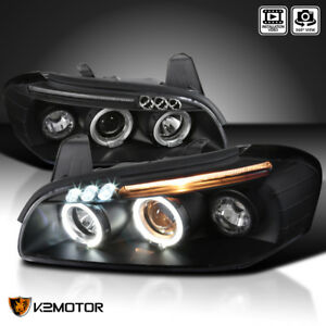 For 2000 2001 Nissan Maxima Black Led Dual Halo Projector Headlights Black Pair