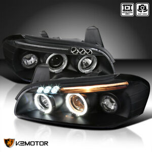 Dual Halo Projector Headlights Black Pair W Led For 2000 2001 Nissan Maxima