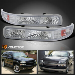 For 1999 2002 Chevy Silverado Tahoe Clear Signal Bumper Parking Lights Lamps L R