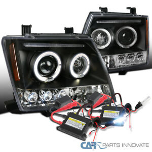 For 05 12 Xterra Black Halo Led Projector Headlights H1 6000k Hid Conversion Kit