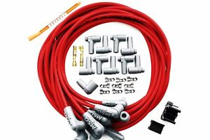 Universal Msd 8 5mm 90 Degree Red Spark Plug Wires W hei Cap Ends 31229 Sbc Bbc