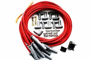 Universal Msd 8 5mm 90 Degree Red Spark Plug Wires W Hei Cap Ends 31189 Sbc Bbc