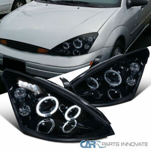 Glossy Black 00 04 Ford Focus Led Drl Halo Smoke Projector Headlights Left Right