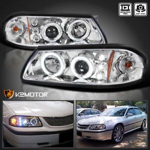 For 2000 2005 Chevy Impala Led Halo Projector Headlights Head Lamps Left right