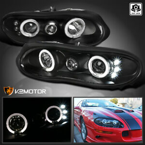 1998 2002 Chevy Camaro Led Halo Projector Headlights Black