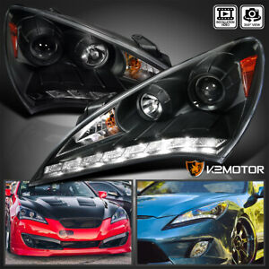 For 2010 2012 Hyundai Genesis 2dr Coupe Black Projector Headlights Led Strip