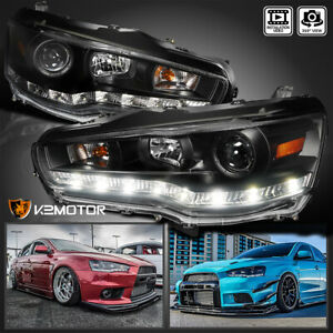 Fits 2008 2015 Mitsubishi Lancer Evo X 10 Led Strip Projector Headlights Black