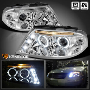For 2001 2005 Vw Passat Led Dual Halo Rims Projector Headlights Pair Led